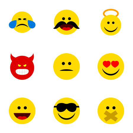 Flat Icon Emoji Set Of Hush, Happy, Cheerful And Other Vector Objects Illustration