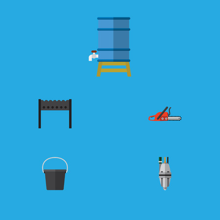 Flat Icon Farm Set Of Hacksaw, Pail, Pump And Other Vector Objects Illustration