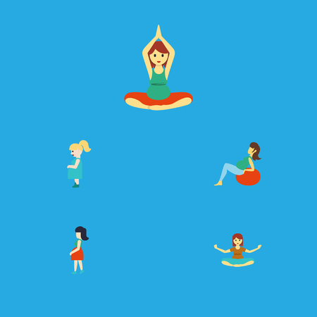 Flat Icon Pregnancy Set Of Yoga, Meditation, Mother And Other Vector Objects Illustration