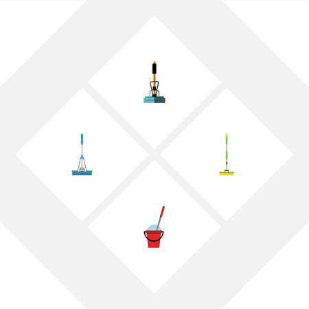scrubbing: Flat Icon Cleaner Set Of Broom, Bucket, Cleaning And Other Vector Objects