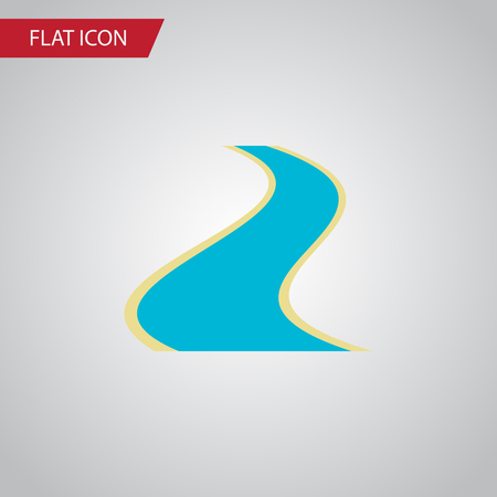 tributary: Isolated River Flat Icon. Tributary Vector Element Can Be Used For Estuary, River, Tributary Design Concept. Illustration