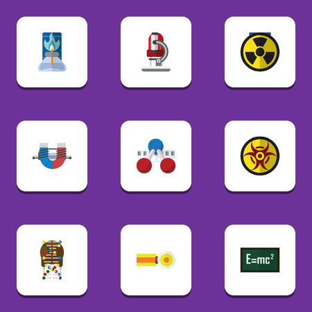 Flat Icon Knowledge Set Of Glass, Irradiation, Theory Of Relativity And Other Vector Objects. Also Includes Danger, Glass, Burner Elements.