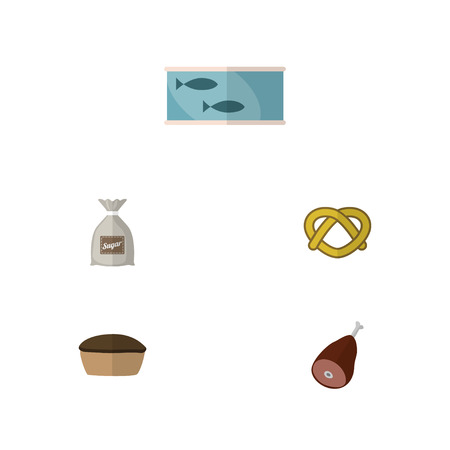 Flat Icon Food Set Of Meat, Sack, Cookie And Other Vector Objects. Also Includes Tart, Beef, Biscuit Elements.