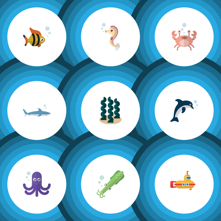 Flat Icon Sea Set Of Shark, Cancer, Hippocampus And Other Vector Objects. Also Includes Lobster, Squid, Spirulina Elements. Stock Vector - 84267786