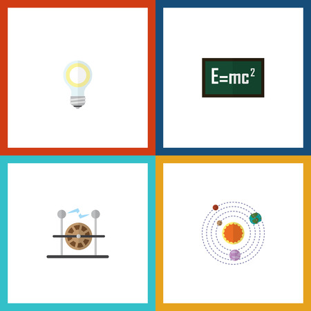 Flat Icon Science Set Of Electrical Engine, Milky Way, Theory Of Relativity And Other Vector Objects. Also Includes Relativity, System, Light Elements. Illustration