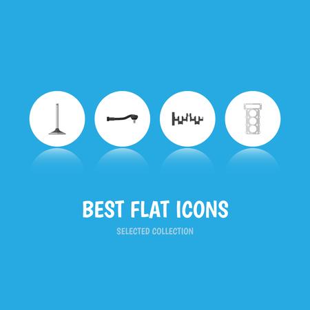 Flat Icon Auto Set Input Technology, Steels Shafts, Car Segment En Andere Vector-objecten. Bevat ook segment-, sferische, pakkingselementen. Stock Illustratie