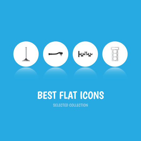Flat Icon Auto Set Of Input Technology, Steels Shafts, Car Segment And Other Vector Objects. Also Includes Segment, Spherical, Gasket Elements. Illustration
