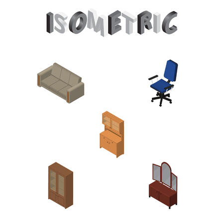 Isometric Design Set Of Cupboard, Drawer, Office And Other Vector Objects. Also Includes Wardrobe, Cabinet, Sofa Elements.