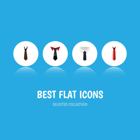 Flat Icon Clothing Set Of Tie, Textile, Tailoring And Other Vector Objects. Also Includes Collar, Cravat, Textile Elements.
