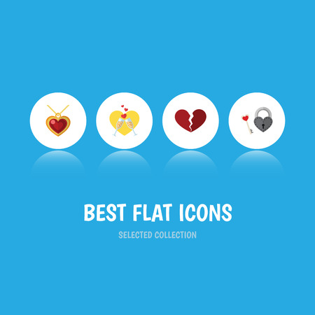 Flat Icon Love Set Of Celebration, Divorce, Necklace And Other Vector Objects. Also Includes Necklace, Celebration, Key Elements.