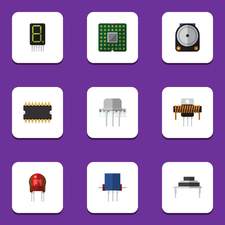 Flat Icon Device Set Of Destination, Unit, Recipient And Other Vector Objects. Also Includes Transistor, Semiconductor, Display Elements.
