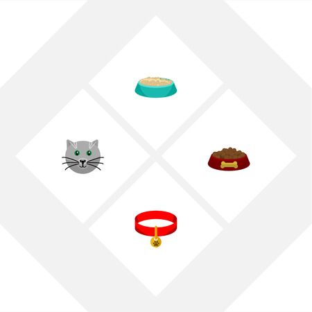 Flat Icon Pets Set Of Kitty Collar, Dog Food, Kitty And Other Vector Objects. Also Includes Nutrient, Necklace, Food Elements. Illustration