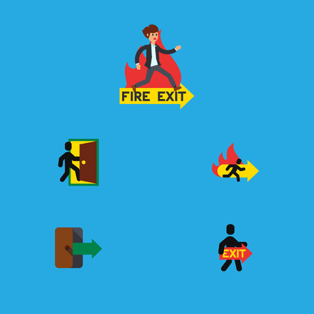 doorknob: Flat Icon Exit Set Of Emergency, Directional, Evacuation And Other Vector Objects. Also Includes Fire, Evacuation, Arrow Elements.