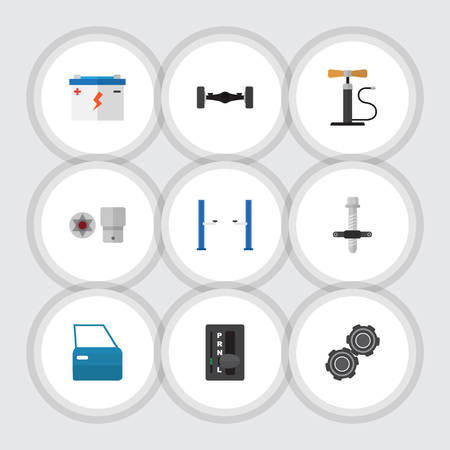 フラット アイコン Turnscrew、マフラー、ホイール ポンプおよび他のベクトル オブジェクトを設定するワーク ショップ。またホイール、ドア部分の要
