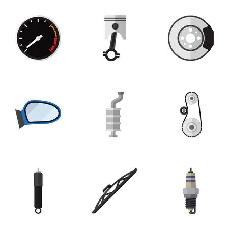 Flat Icon Auto Set van demper, reserveonderdelen, voorruit en andere vectorobjecten. Bevat ook metaal, windscherm, vleugelelementen. Stock Illustratie