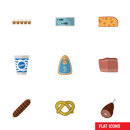 Flat Icon Food Set Of Eggshell Box, Cookie, Meat And Other Vector Objects. Also Includes Food, Eggshell, Breakfast Elements. Ilustração