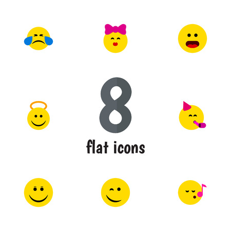 Flat Icon Expression Set Of Joy, Caress, Angel And Other Vector Objects. Also Includes Face, Cheerful, Emoji Elements.