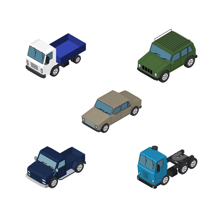 Isometric Car Set Of Auto, Armored, Lorry And Other Vector Objects. Also Includes Car, Sedan, Armored Elements. Illustration