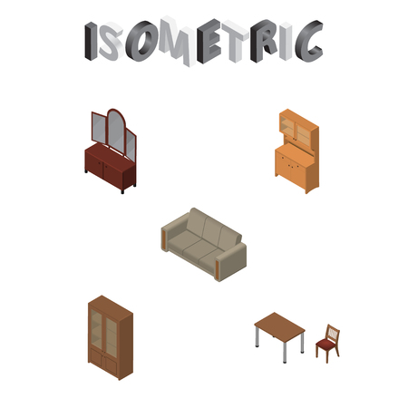 Isometric Design Set Of Couch, Drawer, Cabinet And Other Vector Objects. Also Includes Sideboard, Chair, Table Elements.