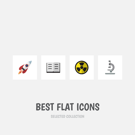 Flat Icon Study Set Of Spaceship, Lecture, Irradiation And Other Vector Objects. Also Includes Spaceship, Optical, Lecture Elements.