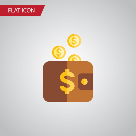 pouch: Isolated Pouch Flat Icon. Payment Vector Element Can Be Used For Pouch, Payment, Money Design Concept.