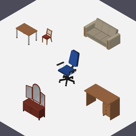 Isometric Furnishing Set Of Drawer, Couch, Chair And Other Vector Objects. Also Includes Drawer, Armchair, Sofa Elements.