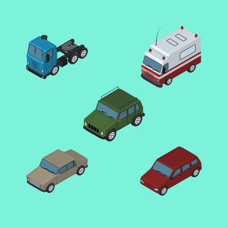 Isometric Transport Set Of First-Aid, Car, Truck And Other Vector Objects. Also Includes Lorry, Ambulance, Motor Elements.