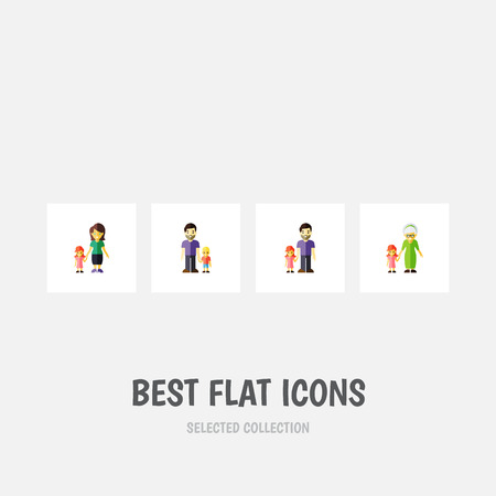 Flat Icon People Set Of Son, Father, Grandchild Vector Objects. Also Includes Family, Mother, Father Elements.