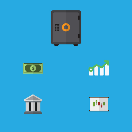 Flat Icon Gain Set Of Diagram, Growth, Bank And Other Vector Objects. Also Includes Architecture, Safe, Arrow Elements.