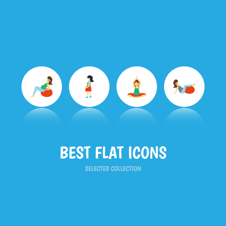 Flat Icon Pregnancy Set Of Yoga, Mother, Sport And Other Vector Objects. Also Includes Pregnancy, Woman, Sport Elements. Illustration
