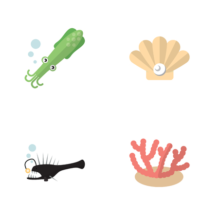 Flat Icon Sea Set Of Conch, Algae, Octopus And Other Vector Objects Çizim