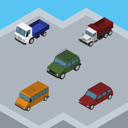 Isometric Car Set Of Lorry, Armored, Freight And Other Vector Objects. Also Includes Transport, Lorry, Freight Elements.