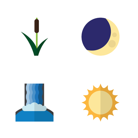 Flat Icon Ecology Set Of Cattail, Cascade, Half Moon And Other Vector Objects. Also Includes Solar, Crescent, Sun Elements.