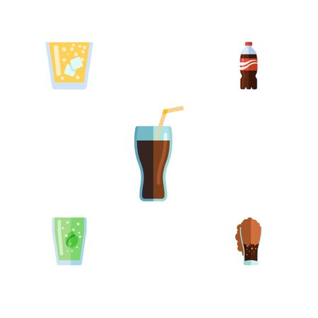 Flat Icon Beverage Set Of Soda, Lemonade, Fizzy Drink And Other Vector Objects. Also Includes Cup, Lemonade, Drink Elements.