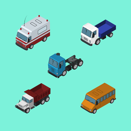 Isometric Transport Set Of Freight, Autobus, First-Aid And Other Vector Objects. Also Includes Ambulance, Lorry, Motor Elements. Illustration