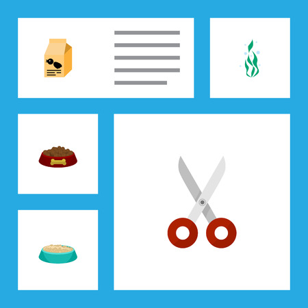 Flat Icon Animal Set Of Dog Food, Seaweed, Nutrition Box And Other Vector Objects. Also Includes Dog, Bird, Food Elements.