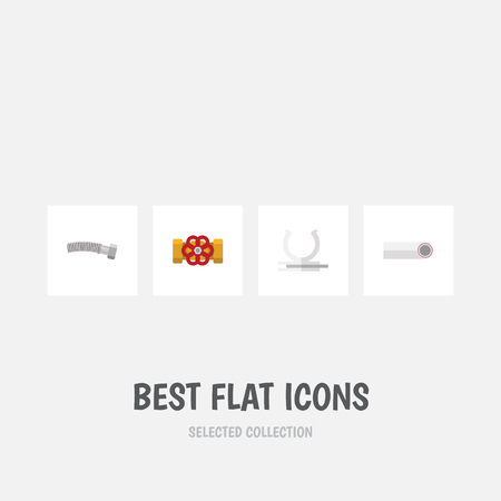 Flat Icon Sanitary Set Of Corrugated Pipe, Drain, Pump Valve And Other Vector Objects. Also Includes Plastic, Valve, Plumbing Elements. Illustration