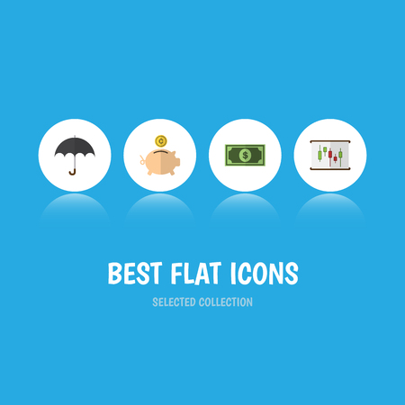 Flat Icon Gain Set Of Money Box, Diagram, Parasol And Other Vector Objects. Also Includes Beach, Report, Umbrella Elements. Stock Vector - 84469341