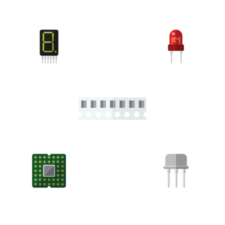 transistor: Flat Icon Electronics Set Of Memory, Resist, Calculate And Other Vector Objects. Also Includes Transistor, Calculator, Fiildistor Elements.