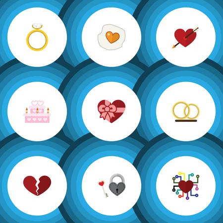 Icône plate Passion ensemble de brouillé, pâtisserie, émotion et autres objets vectoriels. Comprend également le divorce, le ruban et les éléments brisés.