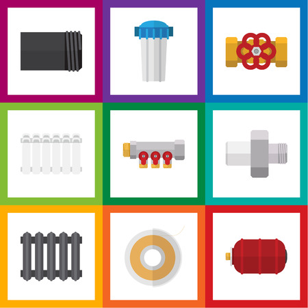 Flat Icon Industry Set Of Tube, Pipework, Water Filter And Other Vector Objects. Also Includes Filter, Pipework, Teflon Elements. Illustration