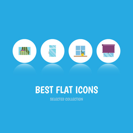 Flat Icon Frame Set Of Curtain, Clean, Flowerpot And Other Vector Objects. Also Includes Flower, Glass, Window Elements. Illustration