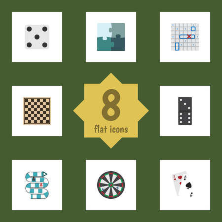 Flat Icon Play Set Of Jigsaw, Backgammon, Arrow And Other Vector Objects. Also Includes Darts, Games, Jigsaw Elements. Illustration