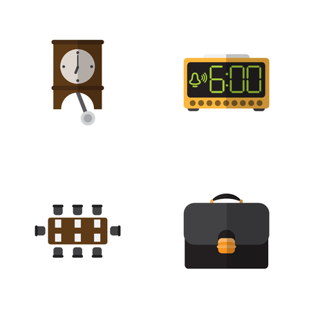 pendulum: Flat Icon Life Set Of Boardroom, Electric Alarm, Briefcase And Other Vector Objects. Also Includes Watch, Clock, Pendulum Elements.