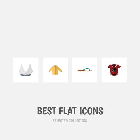 Robe icône plate Ensemble de brasserie, Banyan, T-shirt et autres objets vectoriels. Comprend également une blouse, un banyan et des éléments de chemise. Banque d'images - 84404224
