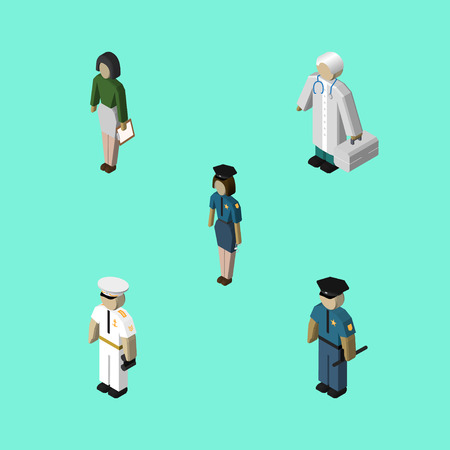 Isometric Human Set Of Officer, Seaman, Medic And Other Vector Objects. Also Includes Teacher, Sailor, Female Elements.