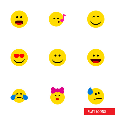 Flat Icon Emoji Set Of Descant, Cold Sweat, Wonder And Other Vector Objects. Also Includes Joy, Sing, Tears Elements.