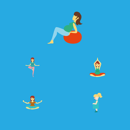 Flat Icon Pregnant Set Of Pregnant Woman, Yoga, Meditation And Other Vector Objects. Also Includes Pregnancy, Fitness, Woman Elements.