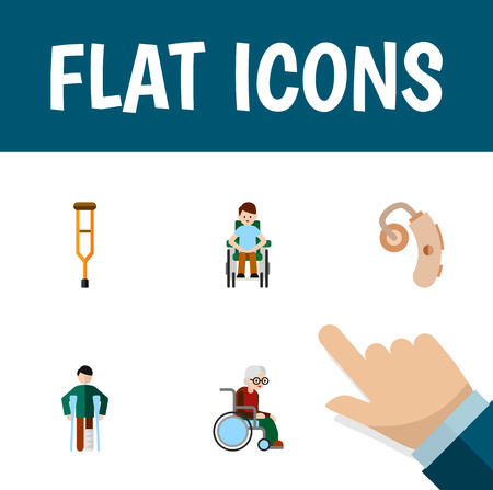 Flat Icon Cripple Set Of Disabled Person, Stand, Audiology Vector Objects. Also Includes Stand, Stick, Crutch Elements.