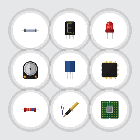 Flat Icon Appliance Set Of Hdd, Unit, Resistance And Other Vector Objects. Also Includes Processor, Calculator, Copper Elements.